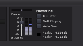Renoise master channel showing the peak level, with at least 4dB headroom.