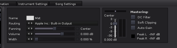 Ideal settings for clean mixes on the Renoise master channel.