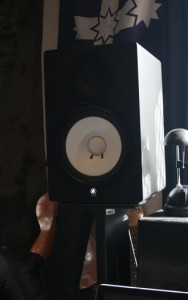 Yamaha HS80M on a stand.