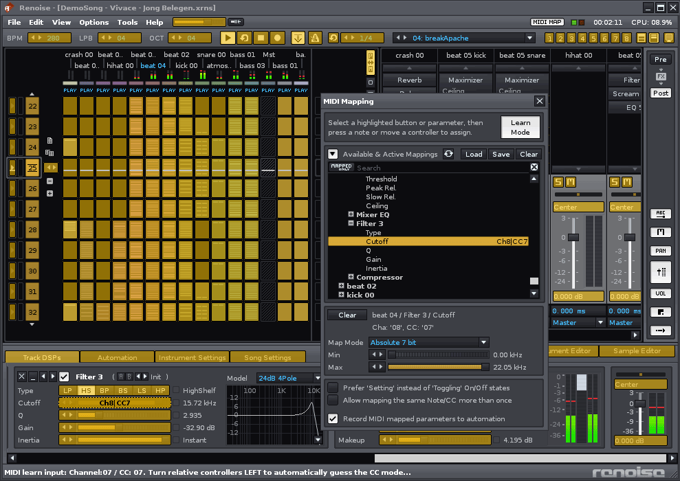 Midi Mapping in Renoise 2.6