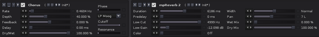 Chorus and reverb settings to get colourful verb