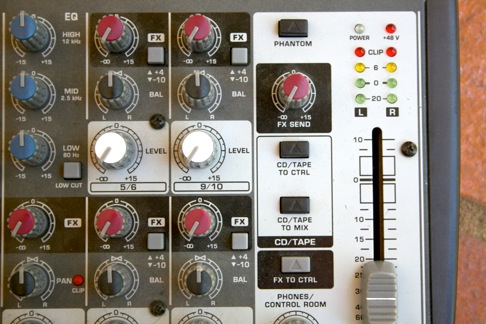 Shot of a hardware audio mixer that shows the FX sends for each channel and the FX receive channel.